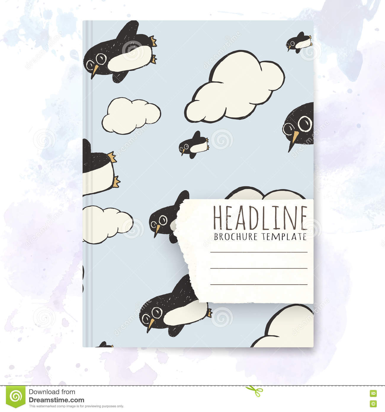 Penguin Book Cover Vector : Notebook template with hand drawn penguin doodles cartoon