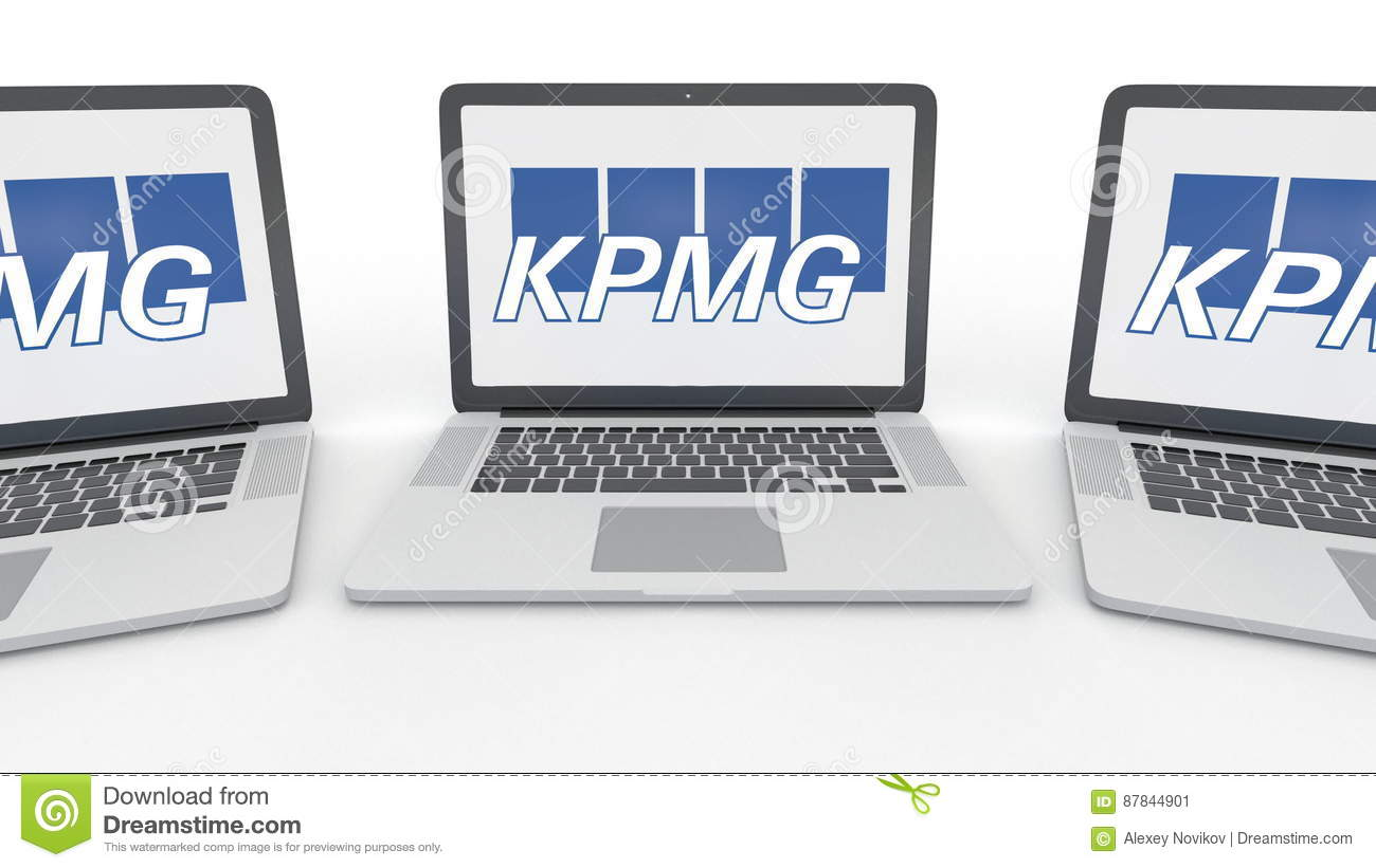 Notebooks With KPMG Logo On The Screen  Computer Technology