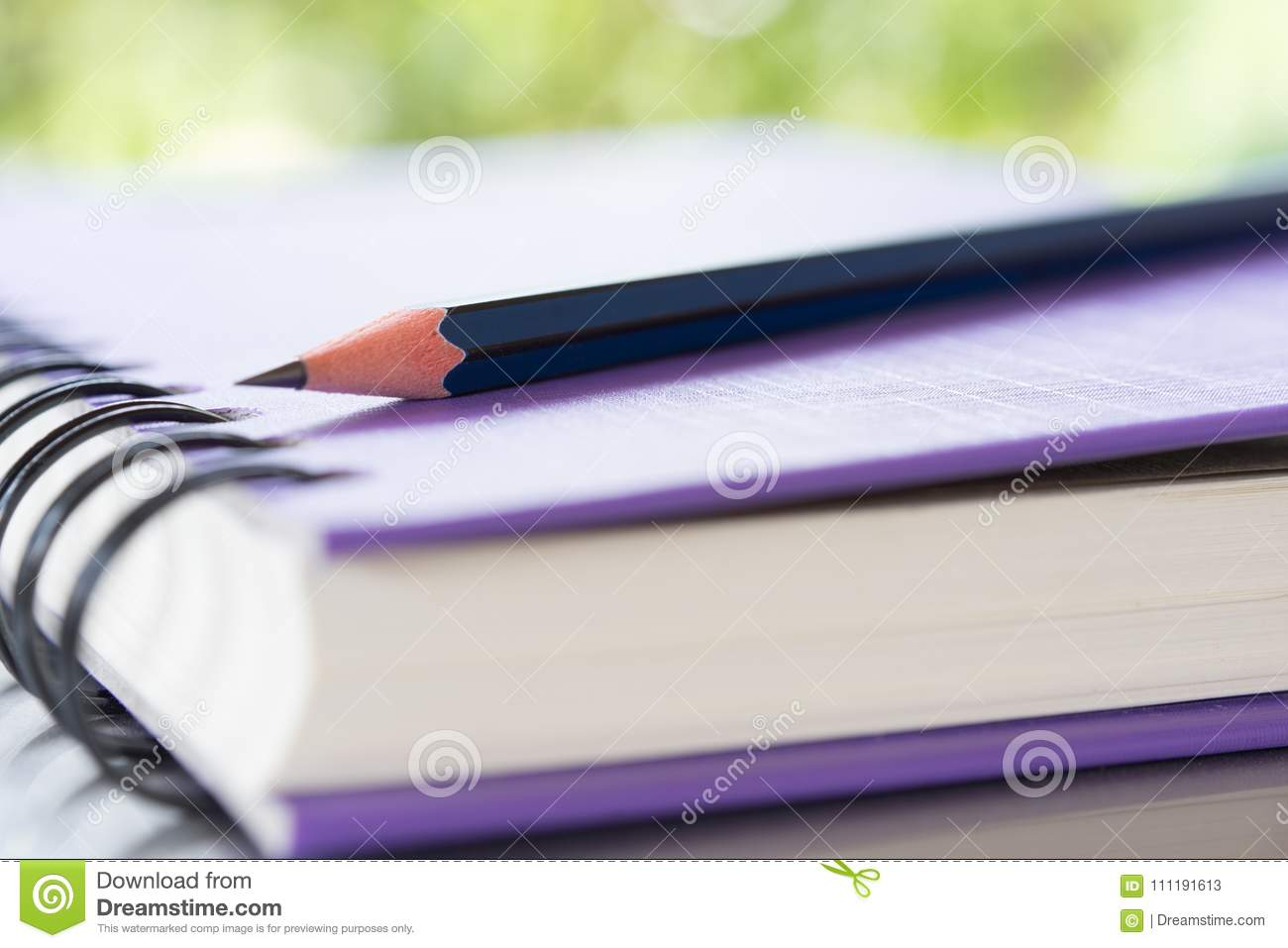 Notebooks and pencil over nature green background
