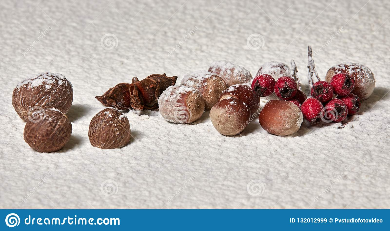 Notemuskaat, hazelnoten, steranijsplant, rode lijsterbessenbessen in de sneeuw Wi
