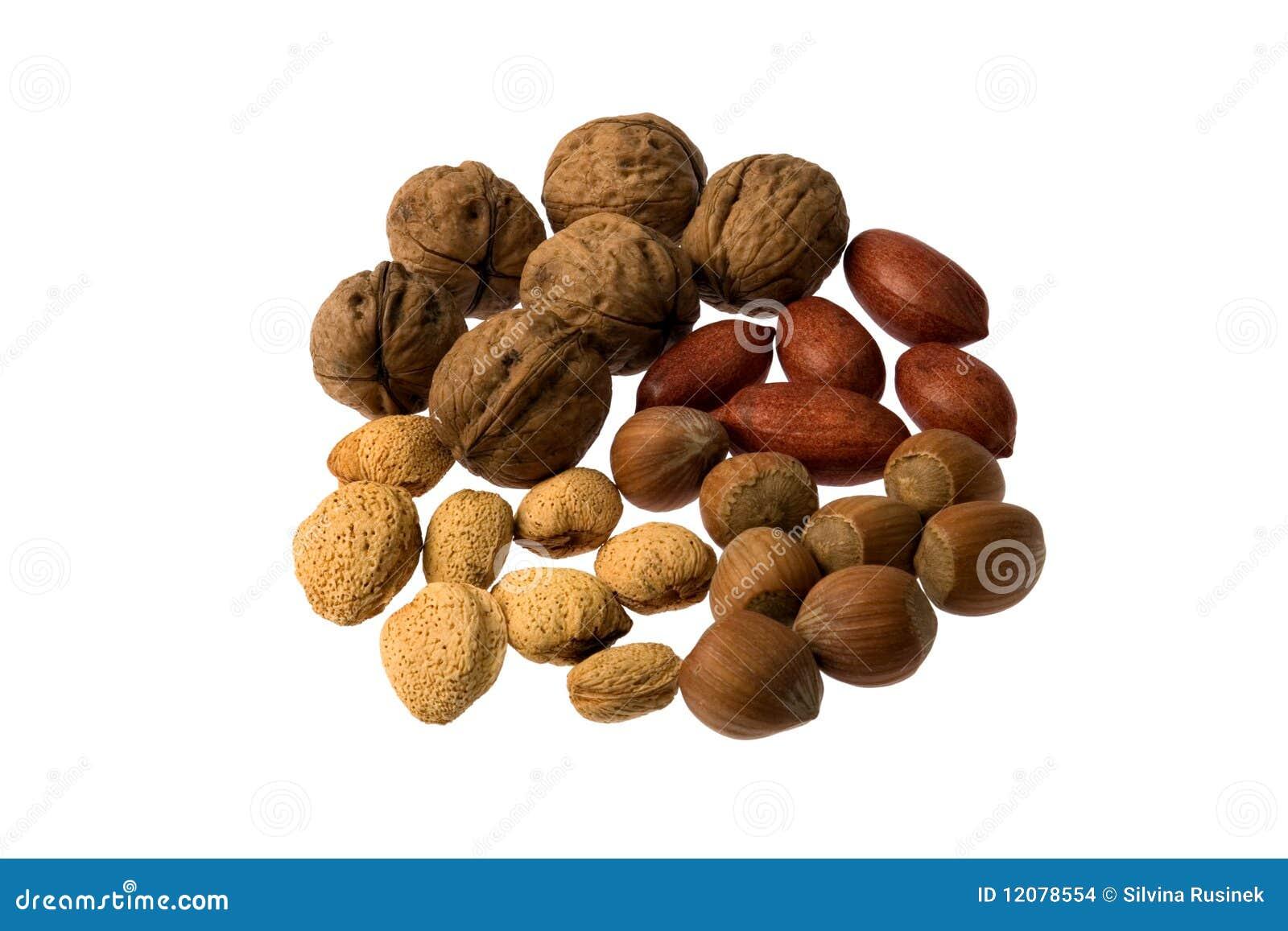 Mengsel van diverse noten die op witte achtergrond worden geïsoleerde