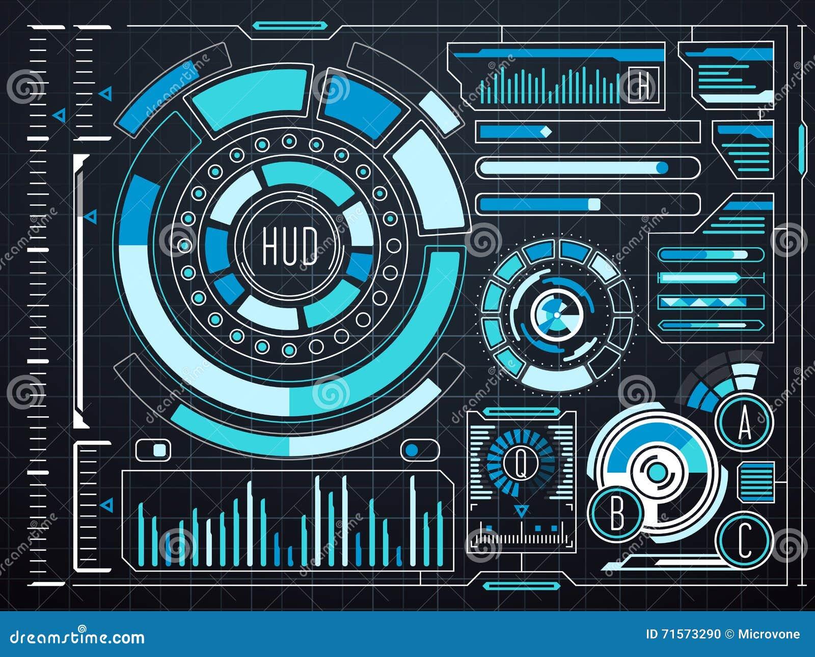 Noten-Benutzerschnittstelle HUD Der Sciencefiction Futuristische ...