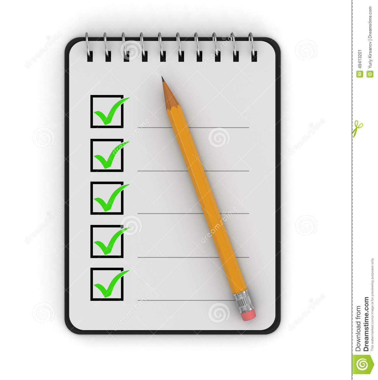 Notepad Checklist (clipping Path Included) Stock Illustration - Image ...
