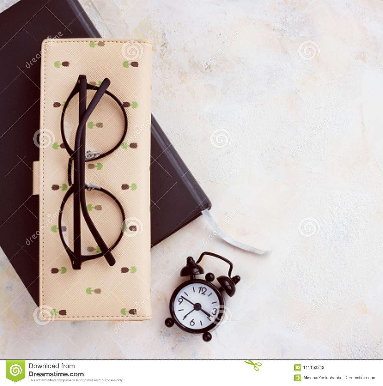 Notepad diary business card glasses clock on a light table top download notepad diary business card glasses clock on a light table top reheart Choice Image