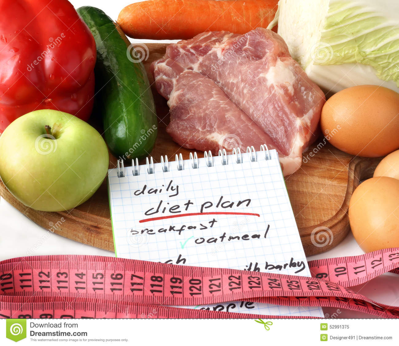 Notepad With Daily Diet Plan Stock Image Image Of Weight Lifestyle 52991375