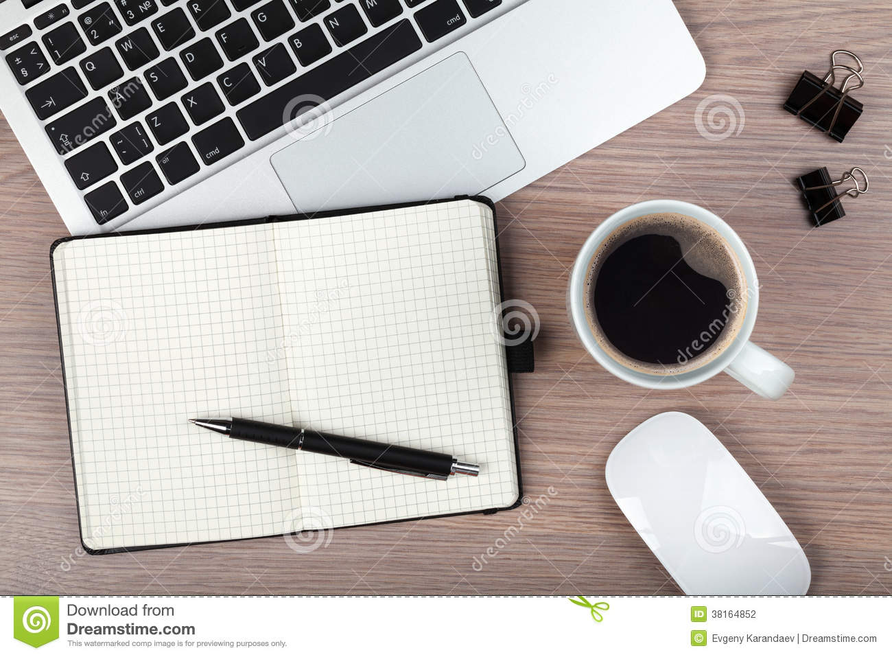 Elegant Notepad, Laptop And Coffee Cup On Wood Table Pictures