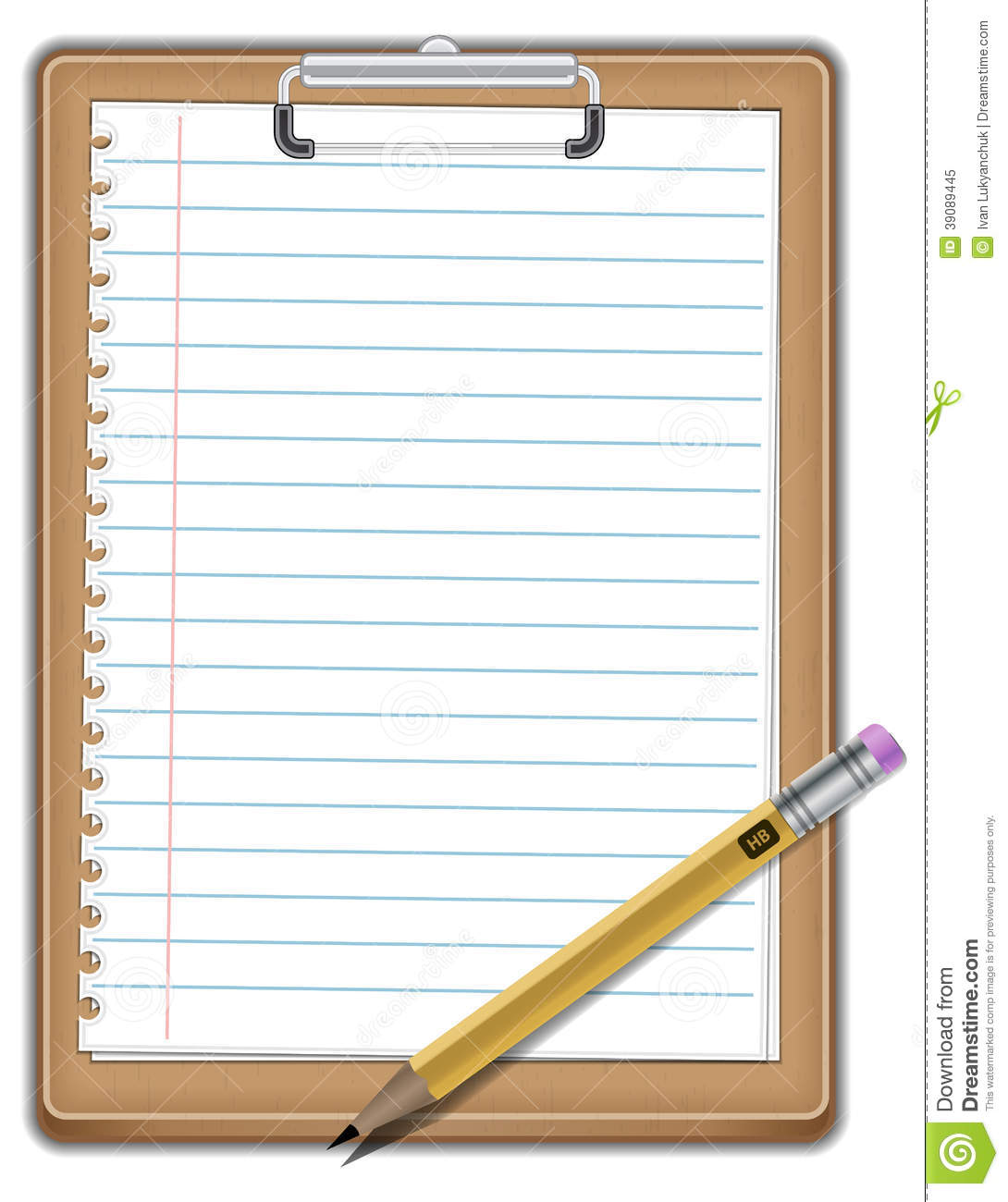 Notepad With Pencil Stock Vector - Image: 39089445