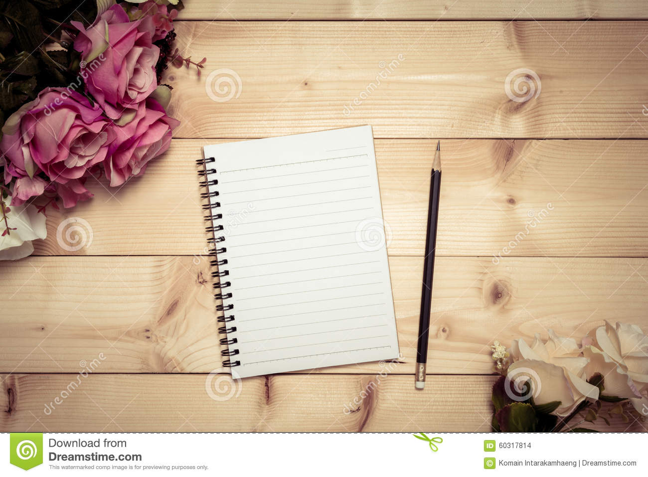 Notepad With Pencil On The Wood Background Stock Photo ...