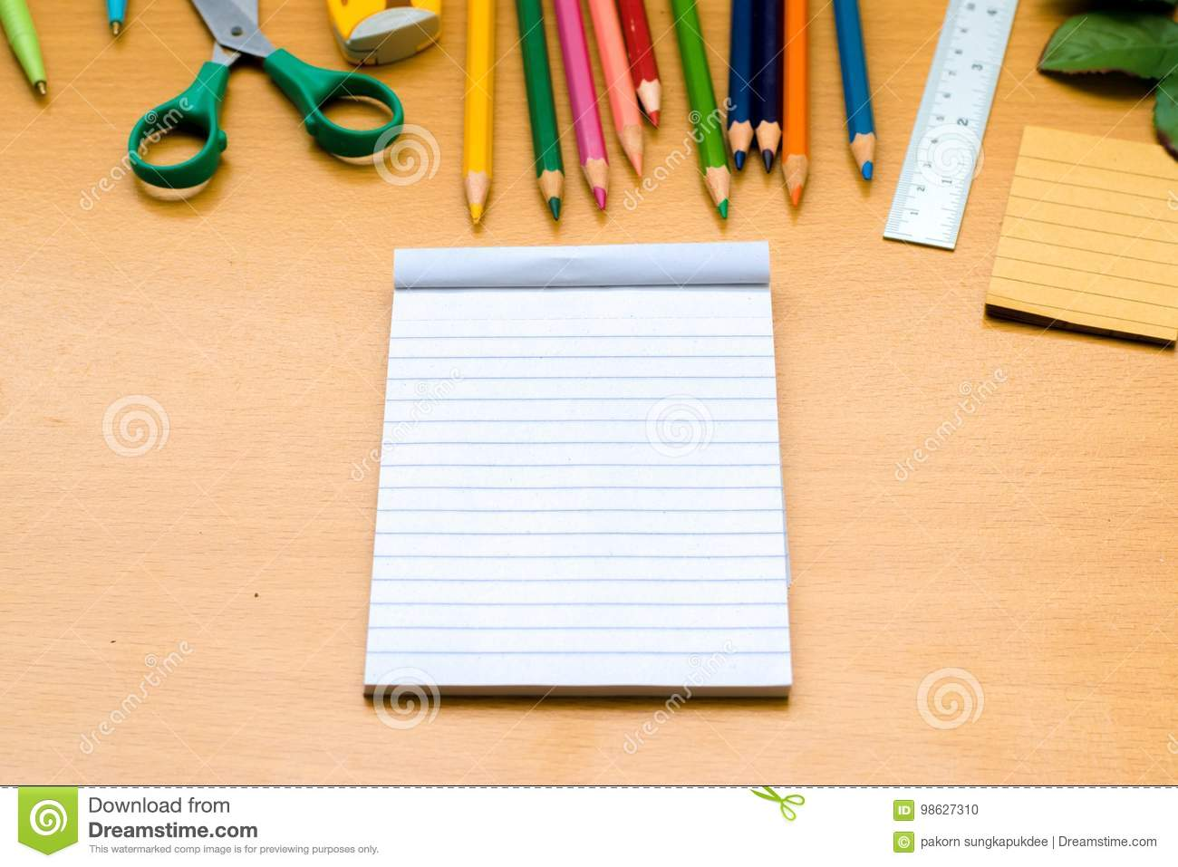 Notepad With Pencil On Wood Board Background Using Wallpaper Or Background For Education Business Photo Take Note Of The Produc Stock Photo Image Of Message Journal 98627310