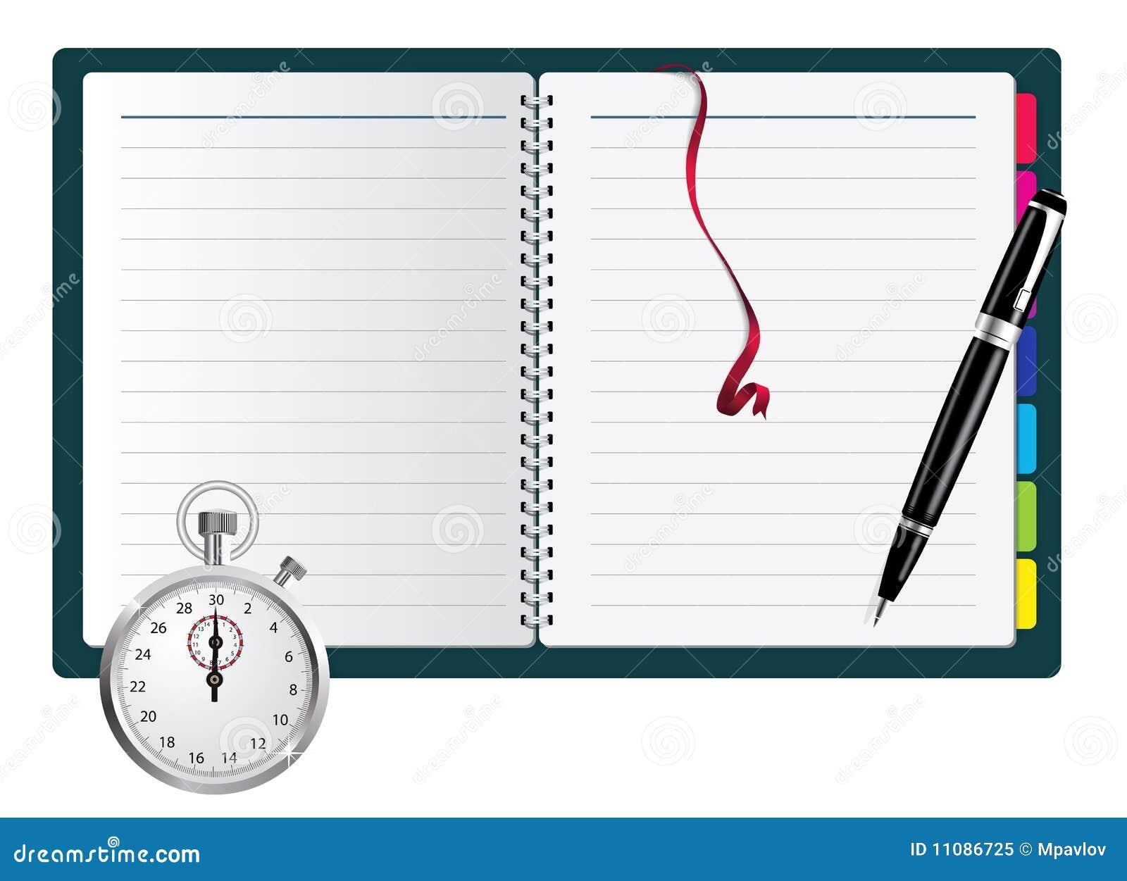Notepad pióra spirali stopwatch