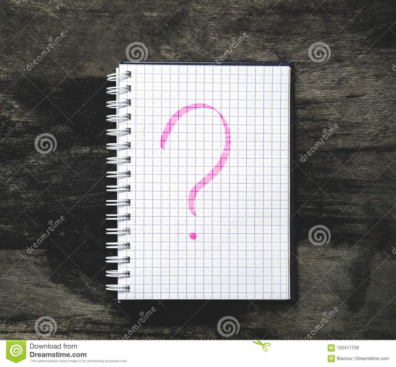 Notepad And Question Mark On The Table Stock Image - Image