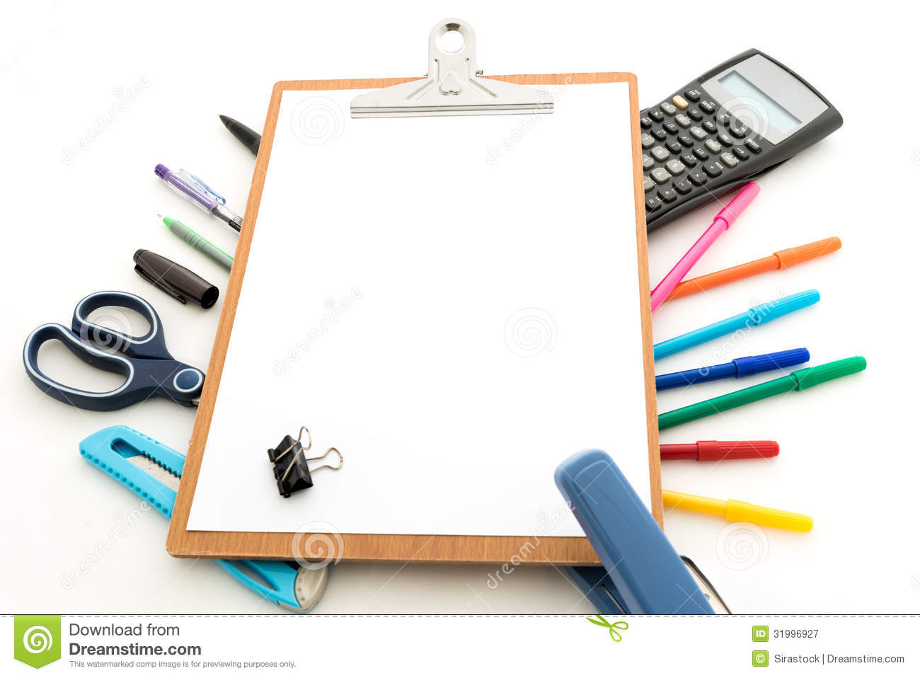 Notepad With Stationary Objects In The Background Royalty Free Stock ...