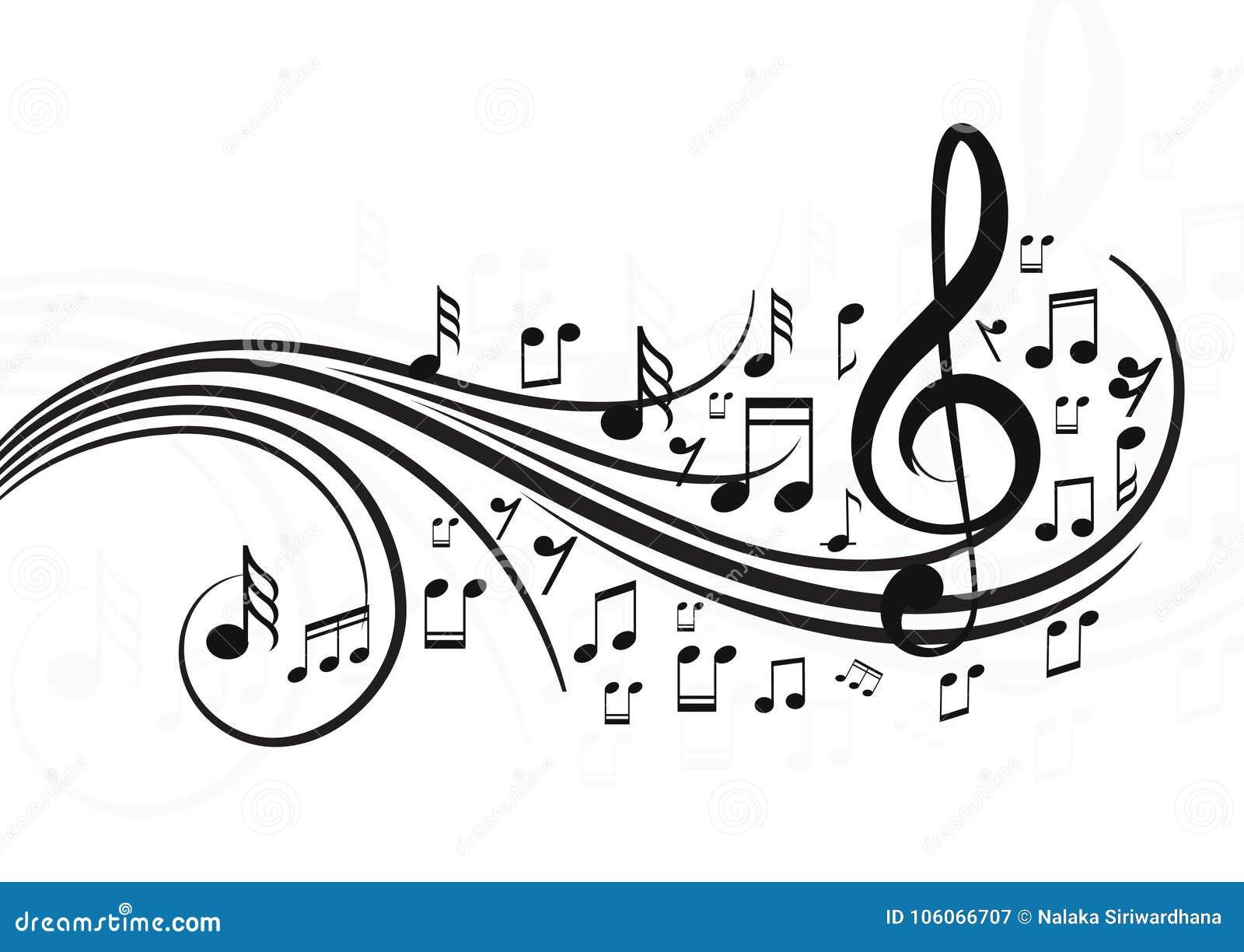 Notes de musique avec des vagues