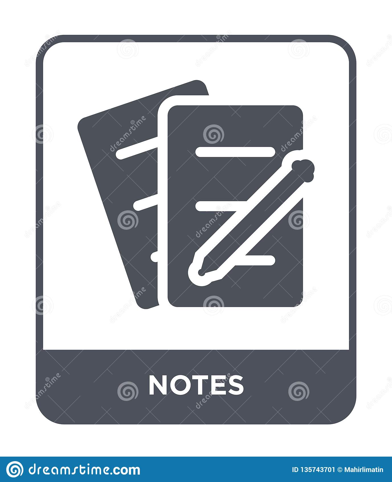 notes icon in trendy design style. notes icon isolated on white background. notes vector icon simple and modern flat symbol for