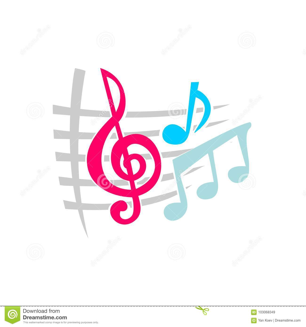 Notes music symbols stock vector  Illustration of notes - 103068349