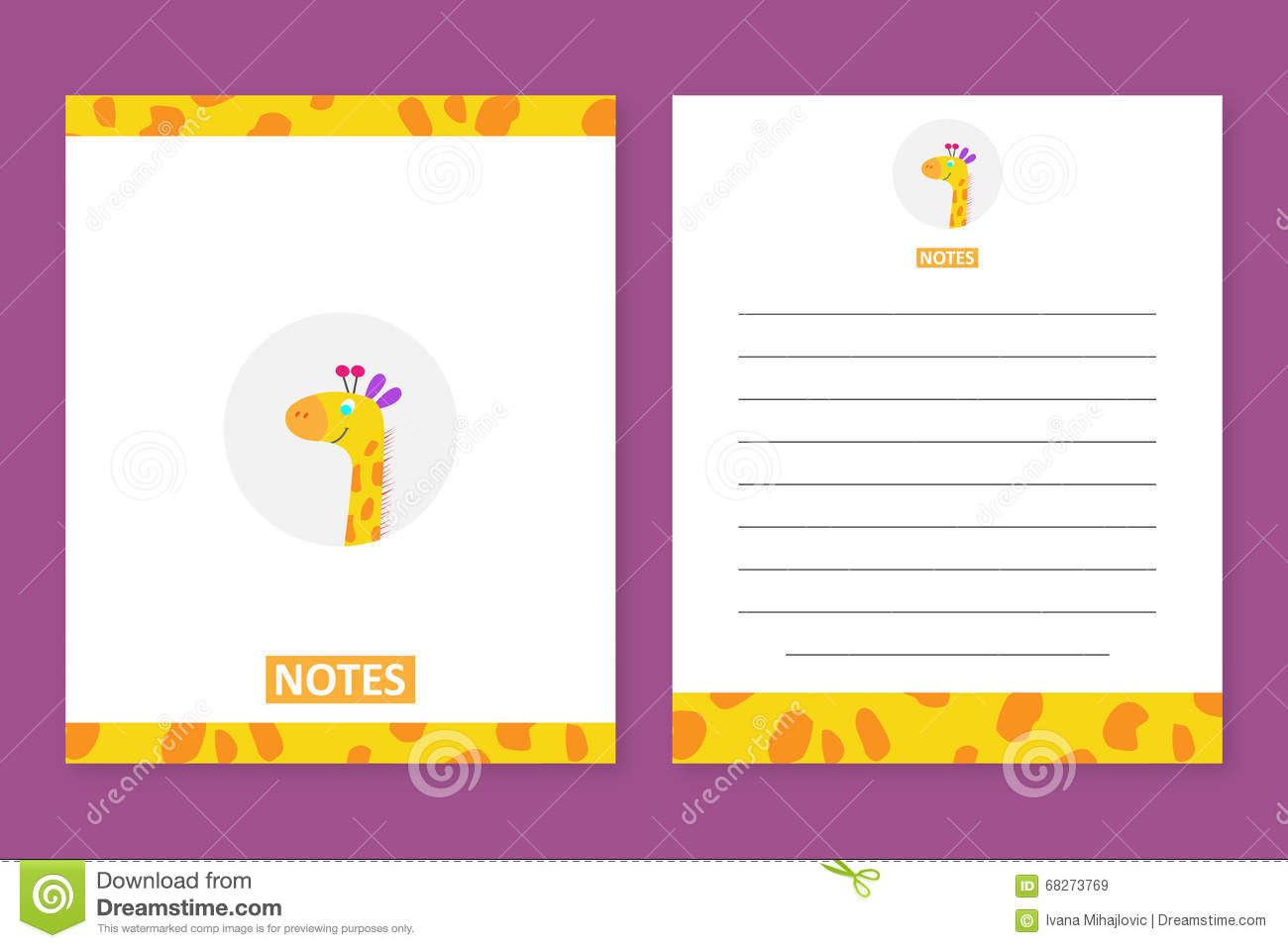 notes template with a cute giraffe stock illustration image