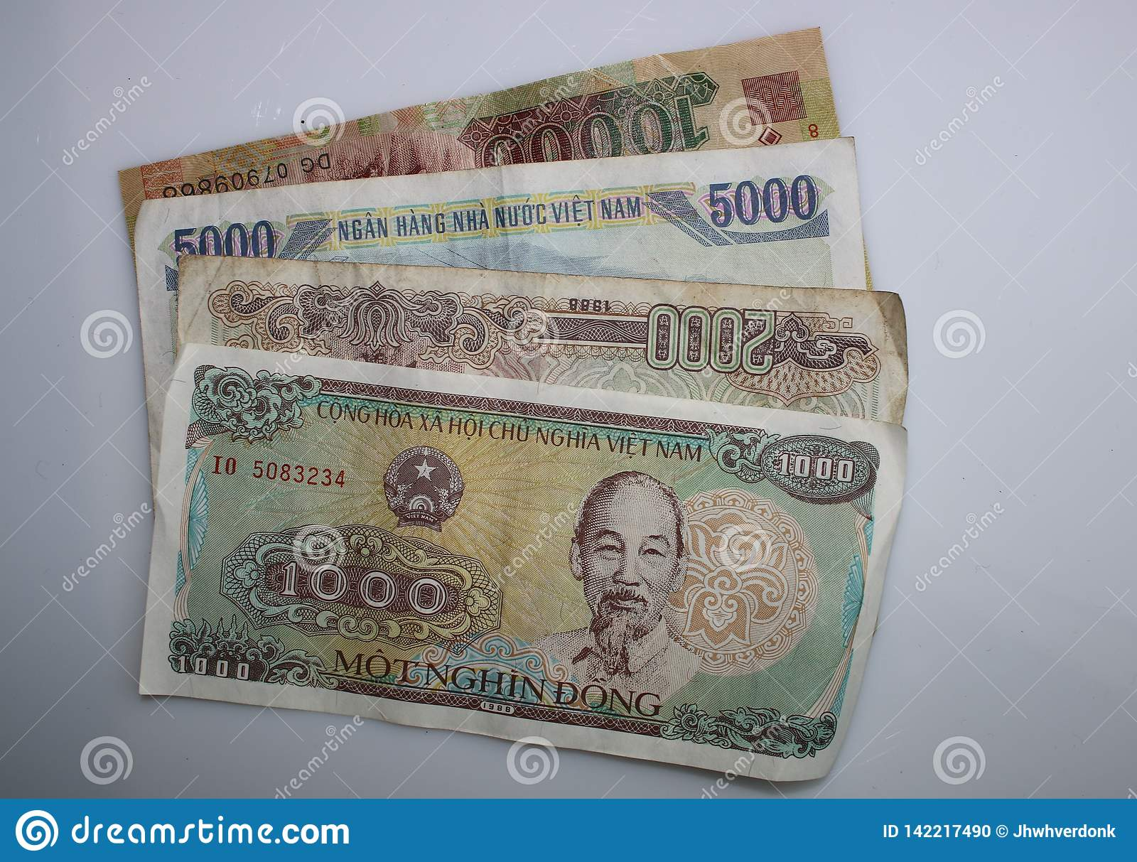 1000, 2000, 5000 and 10000 Notes from vietnam on a white background