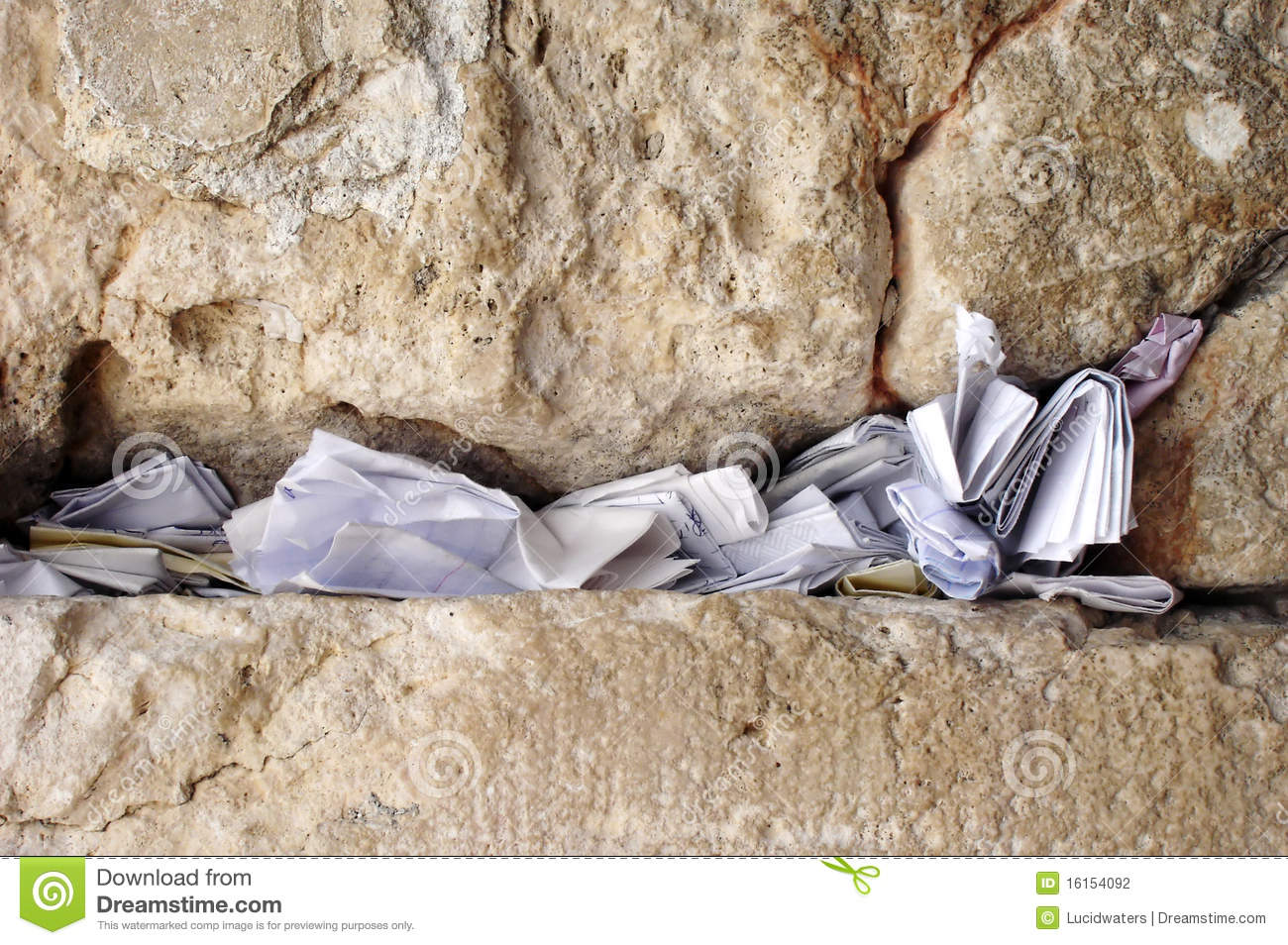 Notes in the wailing wall Israel