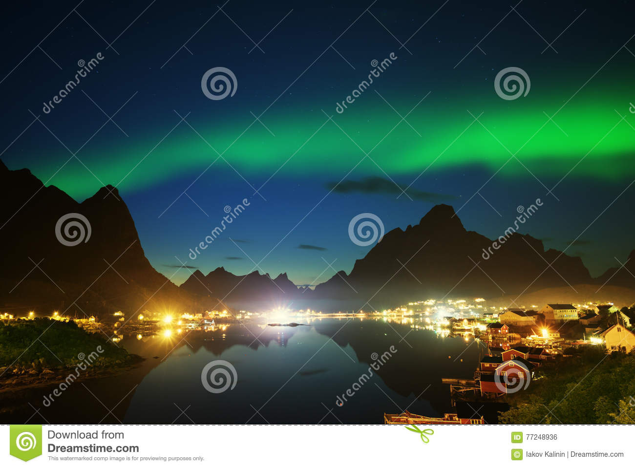 Download Nothern Lights And Reine, Lofoten Islands Stock Photo - Image of night, norway: 77248936