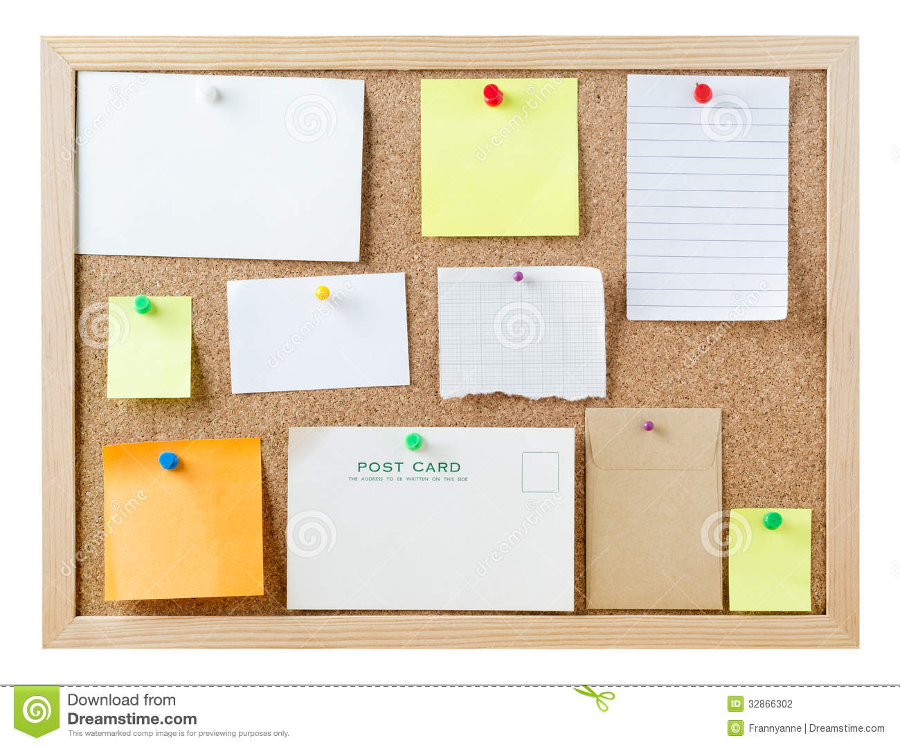 Notice board with blank messages stock photo image 32866302 for Cork board pin display