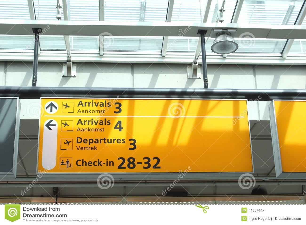 Notice Board With Flights Information Schiphol Airport