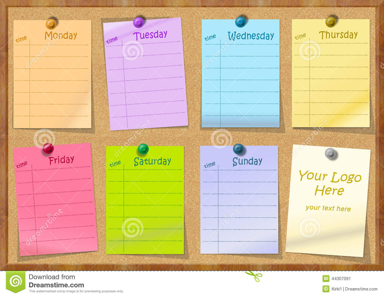 Notice Board With Post It Stock Image Image Of Pins