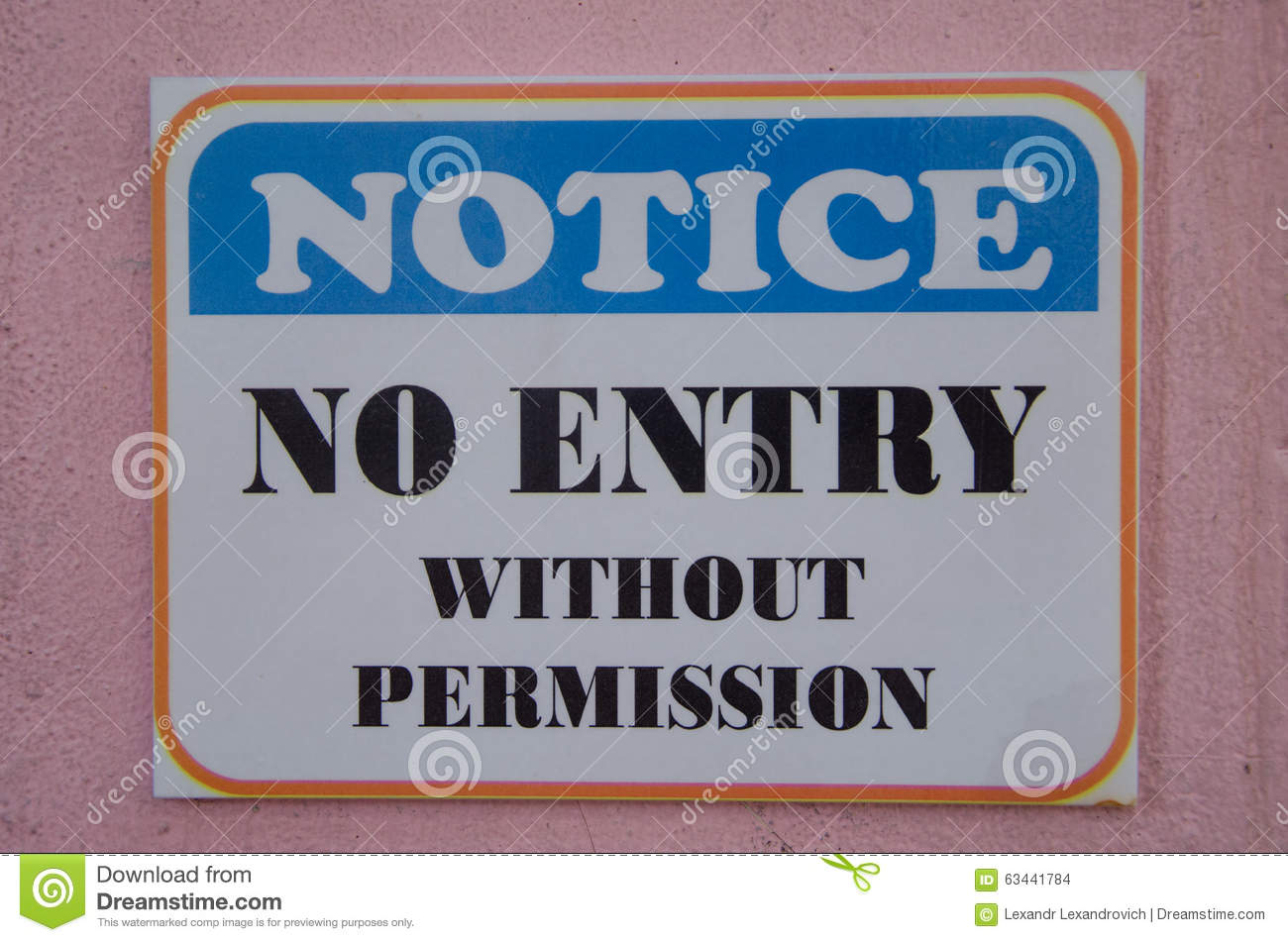 notice no entry without permission stock photo image