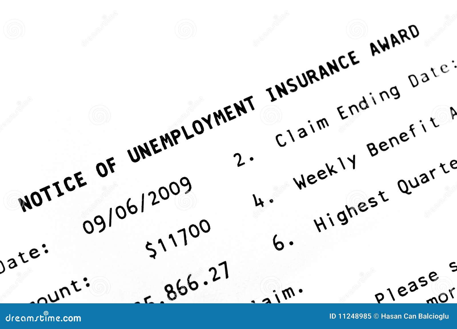 Notice of unemployment award