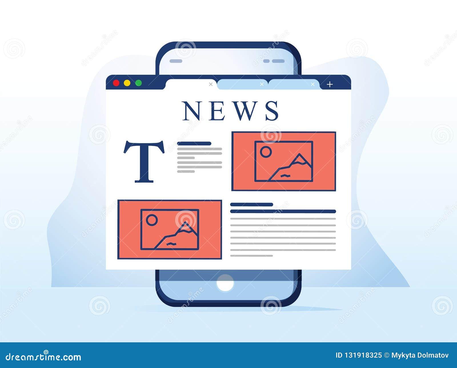 Noticias de la lectura en smartphone La página web en línea del periódico se abrió en navegador móvil en el teléfono elegante App