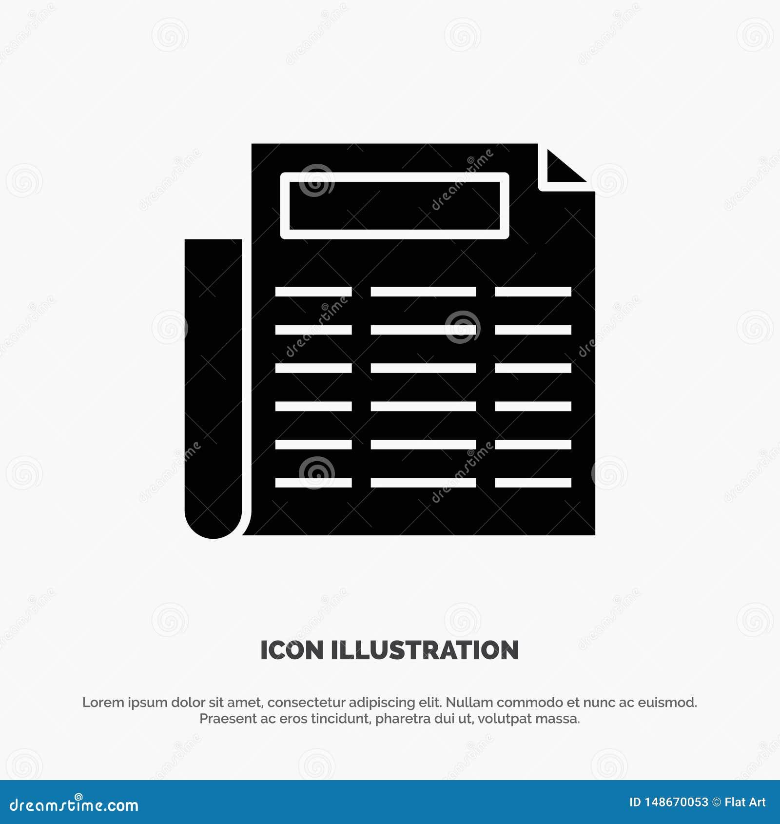 Noticias, papel, vector sólido del icono del Glyph del documento