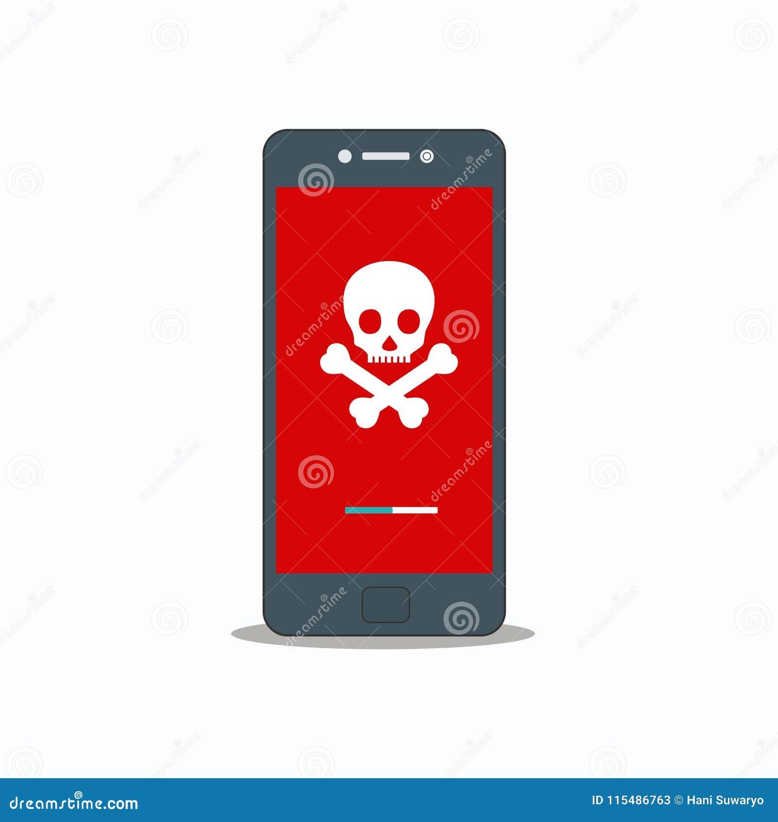Notificação alerta no vetor do smartphone, conceito do malware, dados do Spam, erro do Internet da fraude