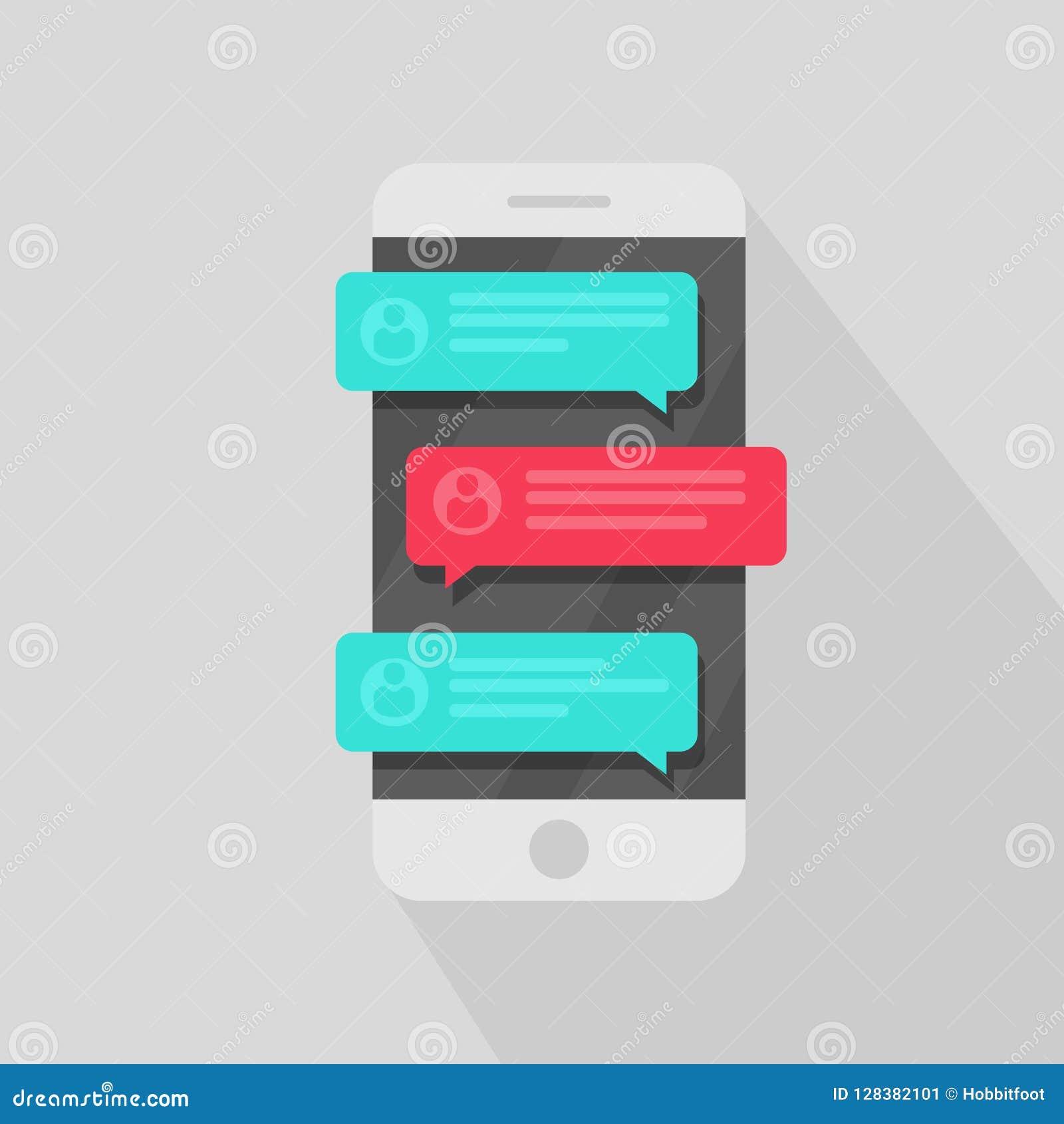 Notificações da mensagem do bate-papo do telefone celular Os discursos de conversa da bolha, conceito em linha da fala, falam, co