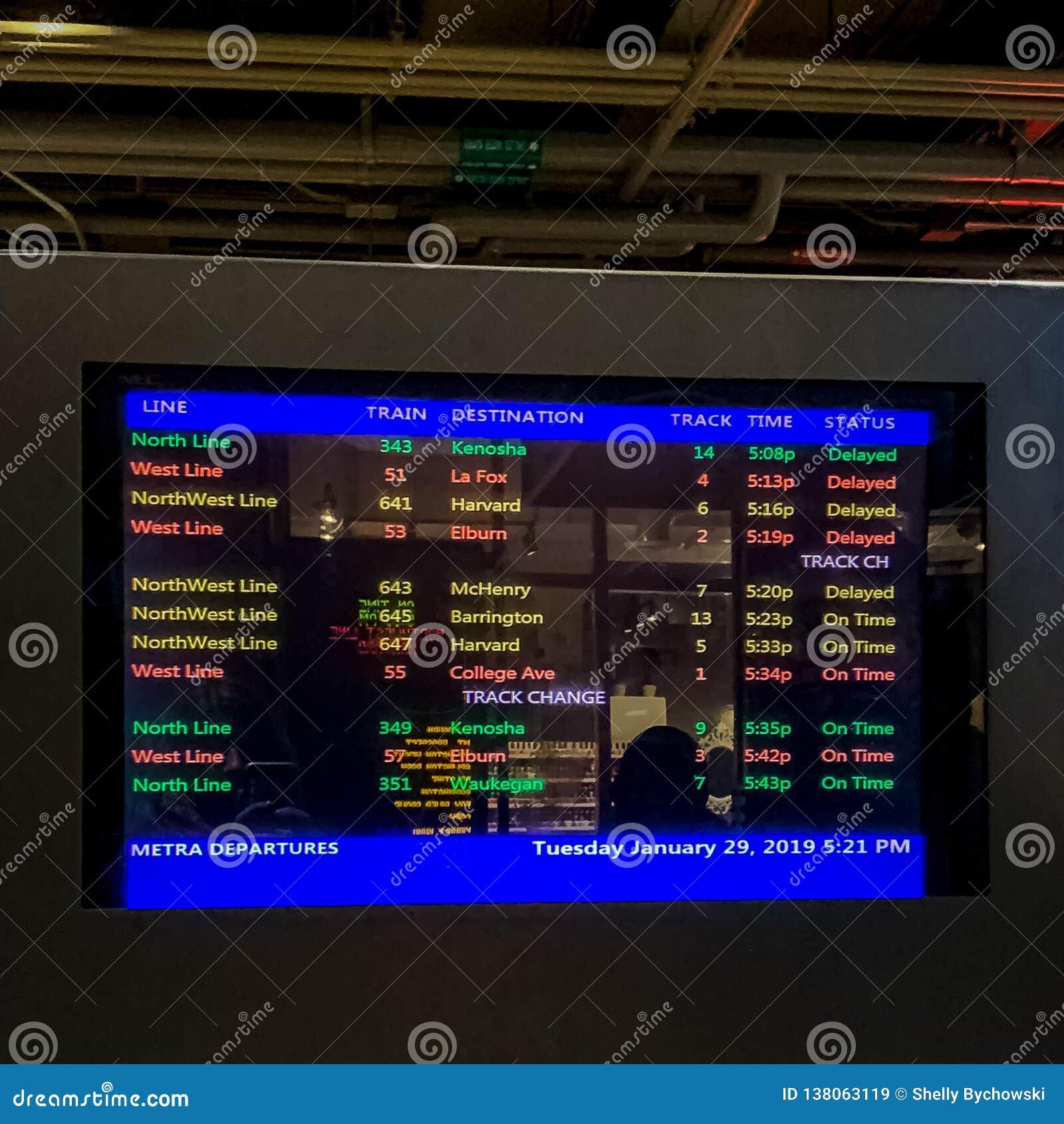 Notificaciones de la vía de Metra con respecto a los trenes retrasados en Chicago