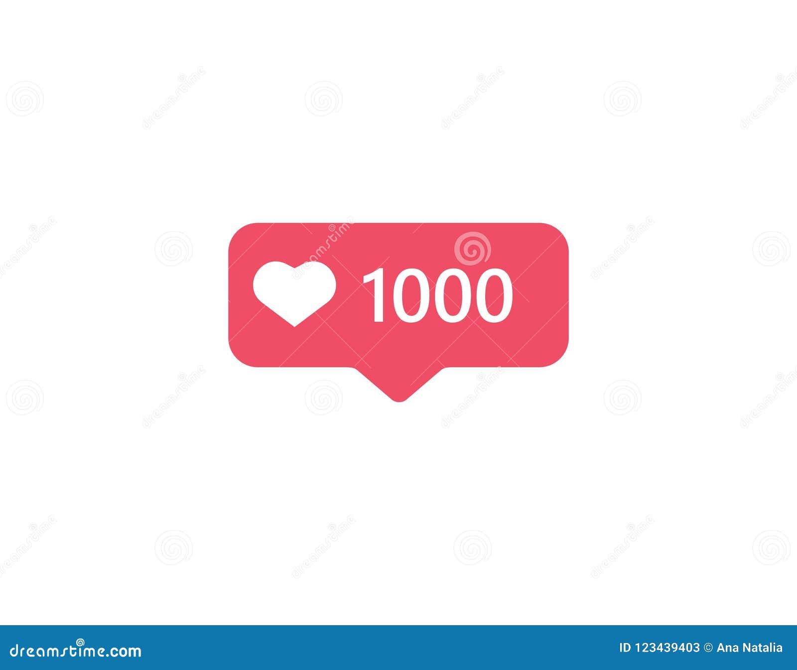 Vector Illustration Instagram: Notification Icon Instagram. 1000 Follower Like Instagram