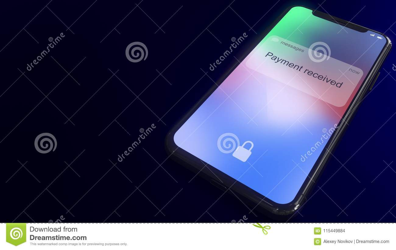 payment received notification pops up on the screen of a modern smartphone conceptual 3d rendering
