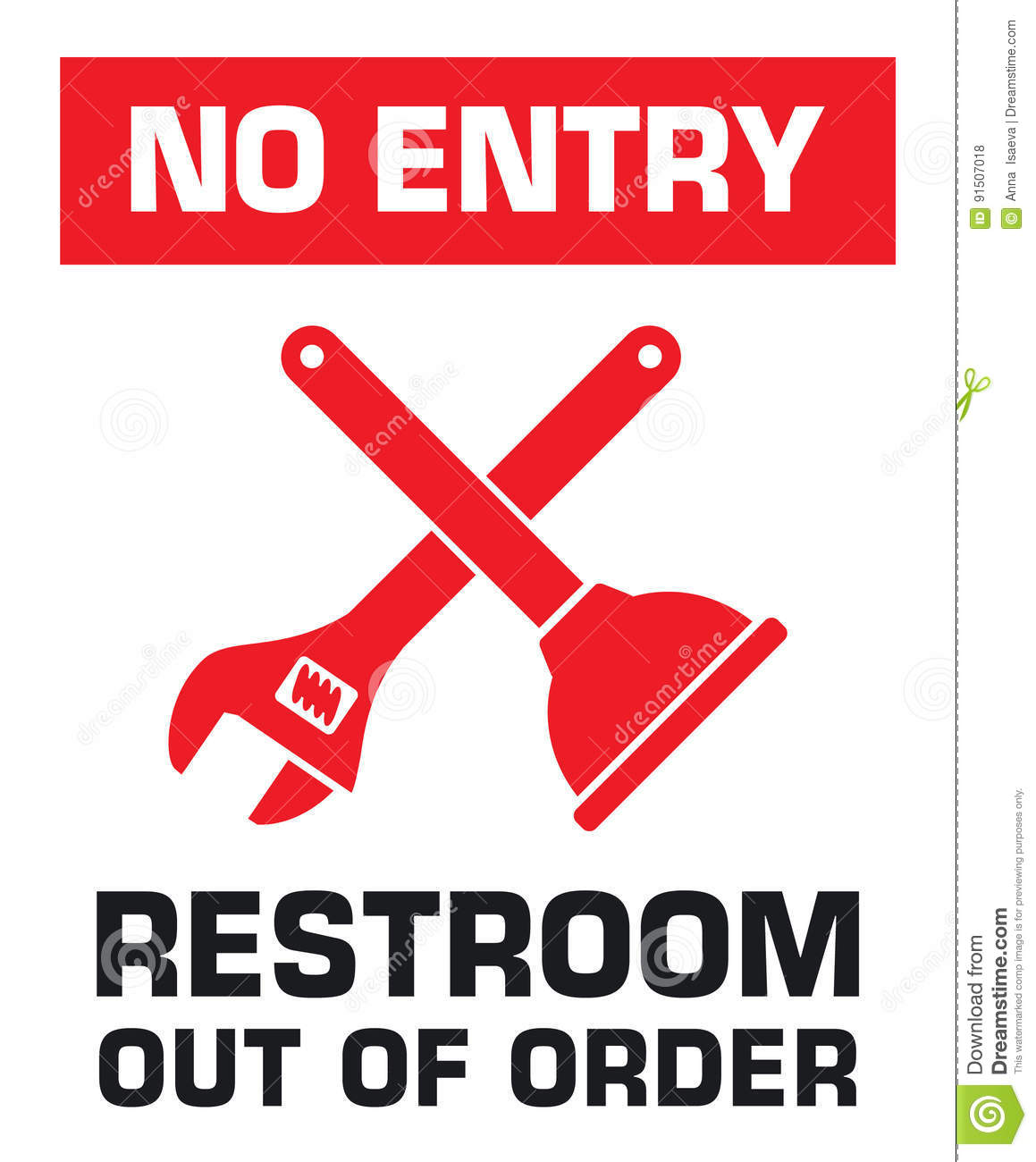 Notification Sign No Entry Restroom Out Of Order Stock Vector
