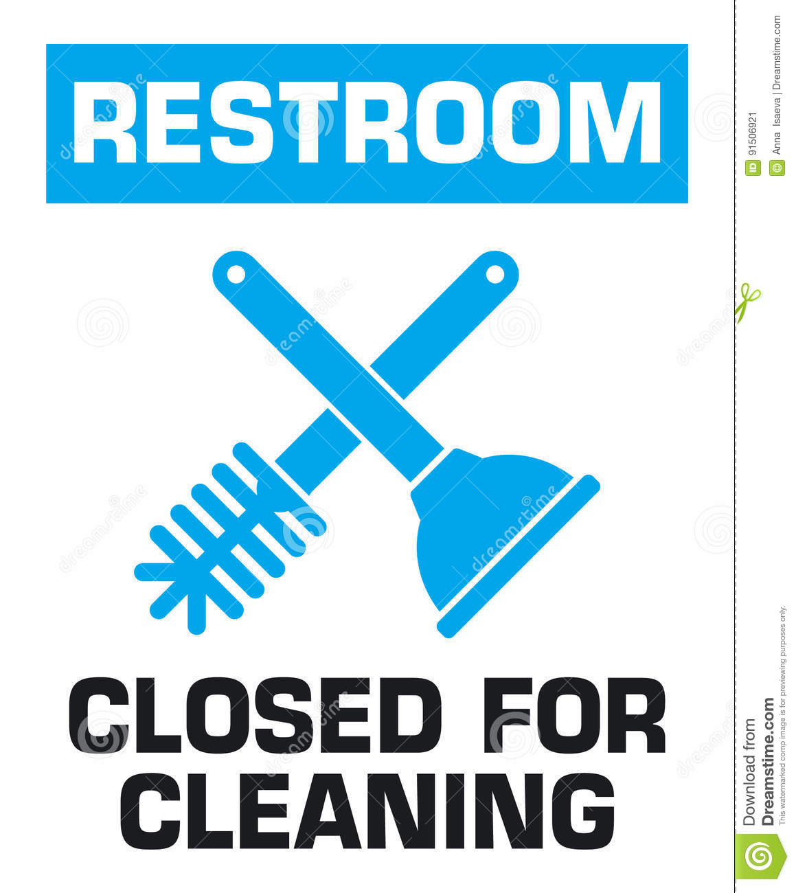 Notification Sign. Restroom Closed For Cleaning. Stock ...