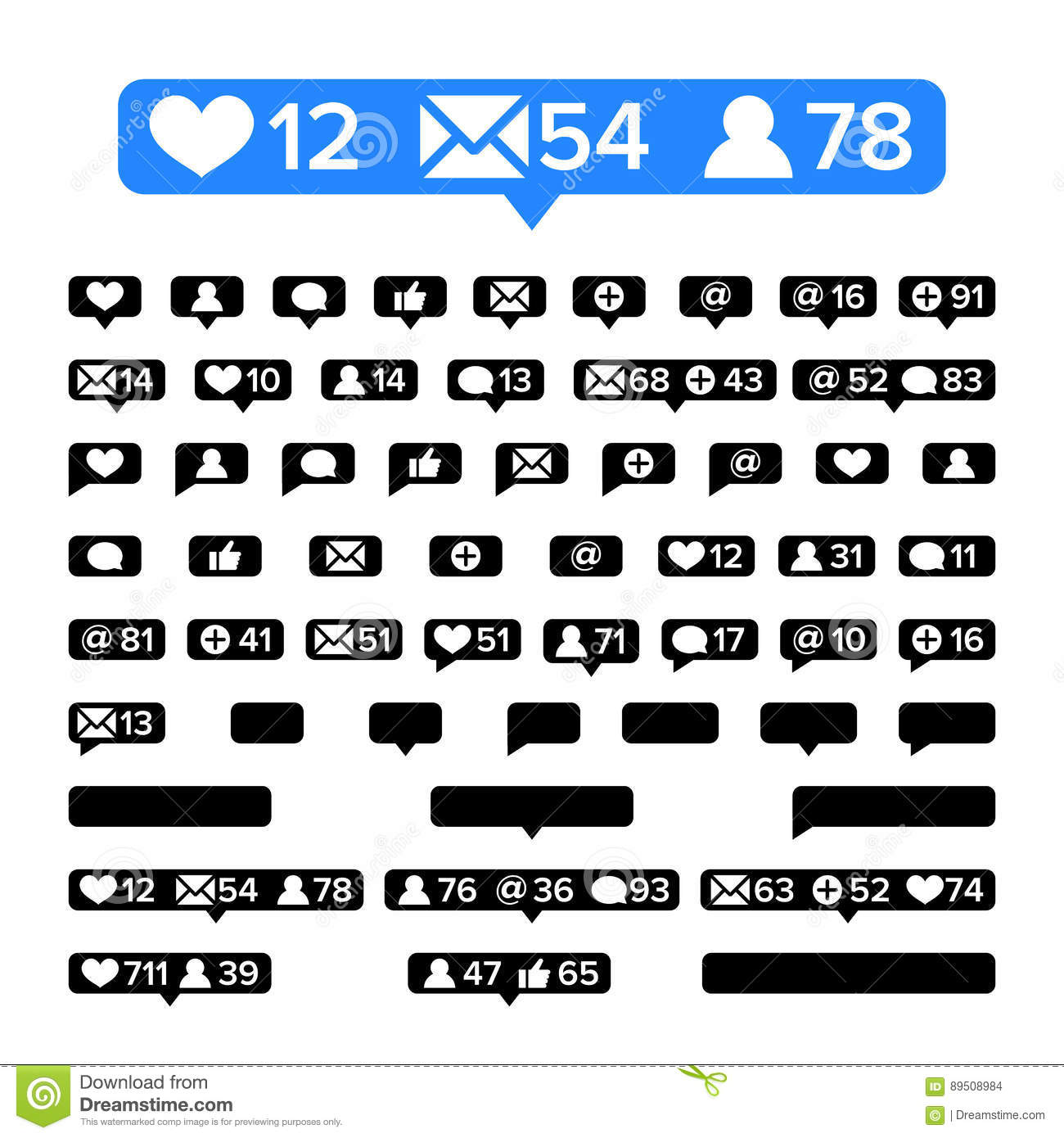 Notifications icons template vector bubble notification icon set notifications icons template vector bubble notification icon set for following websitesblog interfaces facebook twitter instagr biocorpaavc