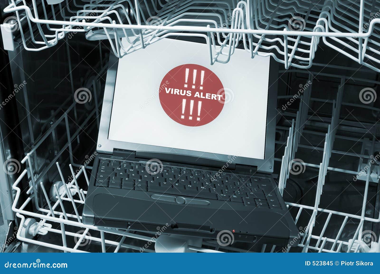 Notitieboekje in afwasmachine - virusalarm
