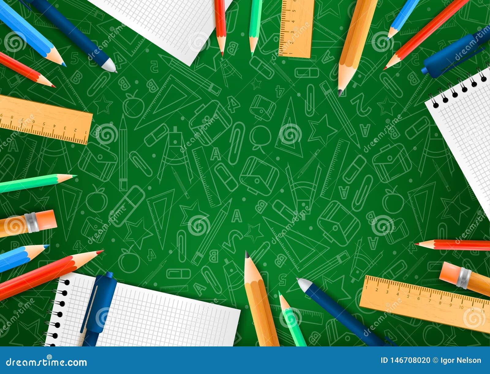 Notitieboekjes met eerbiedige potloden in realistische stijl op groene achtergrond met de illustraties van de schoolkrabbel Vecto