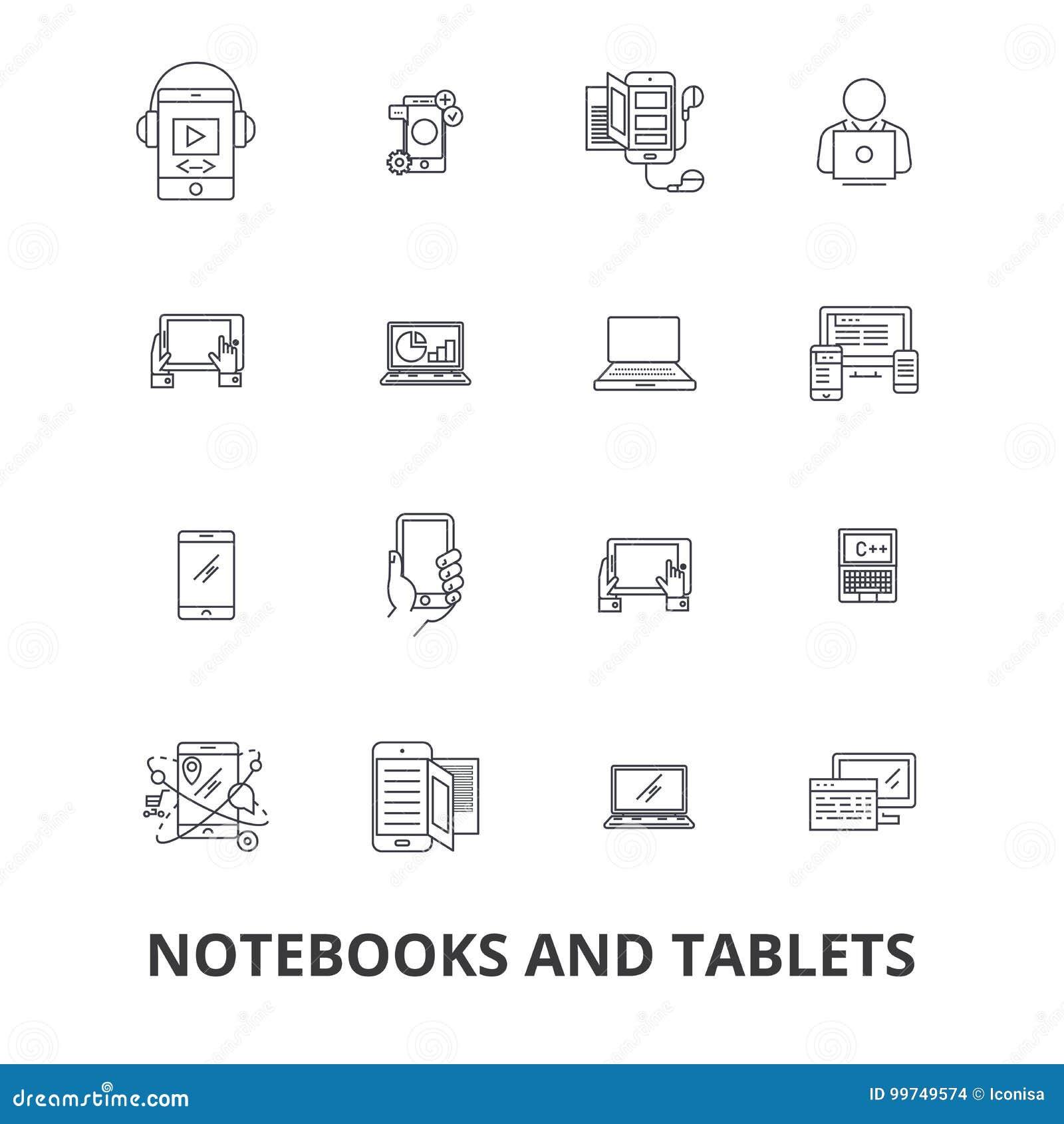 Notizbücher und Tabletten, Laptop, Schirm, Notizblock, Computer, Gerät, PC-Linie Ikonen Editable Anschläge Flacher Designvektor