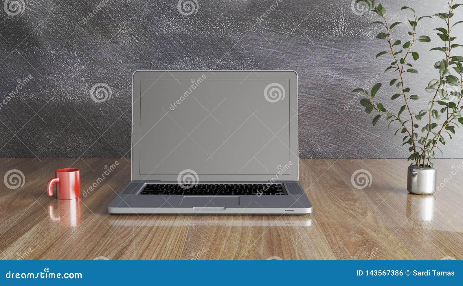 Notizbuch mit einem Becher und eine Anlage, eine schwarze Wand und hölzerne eine Illustration der Tabelle 3D