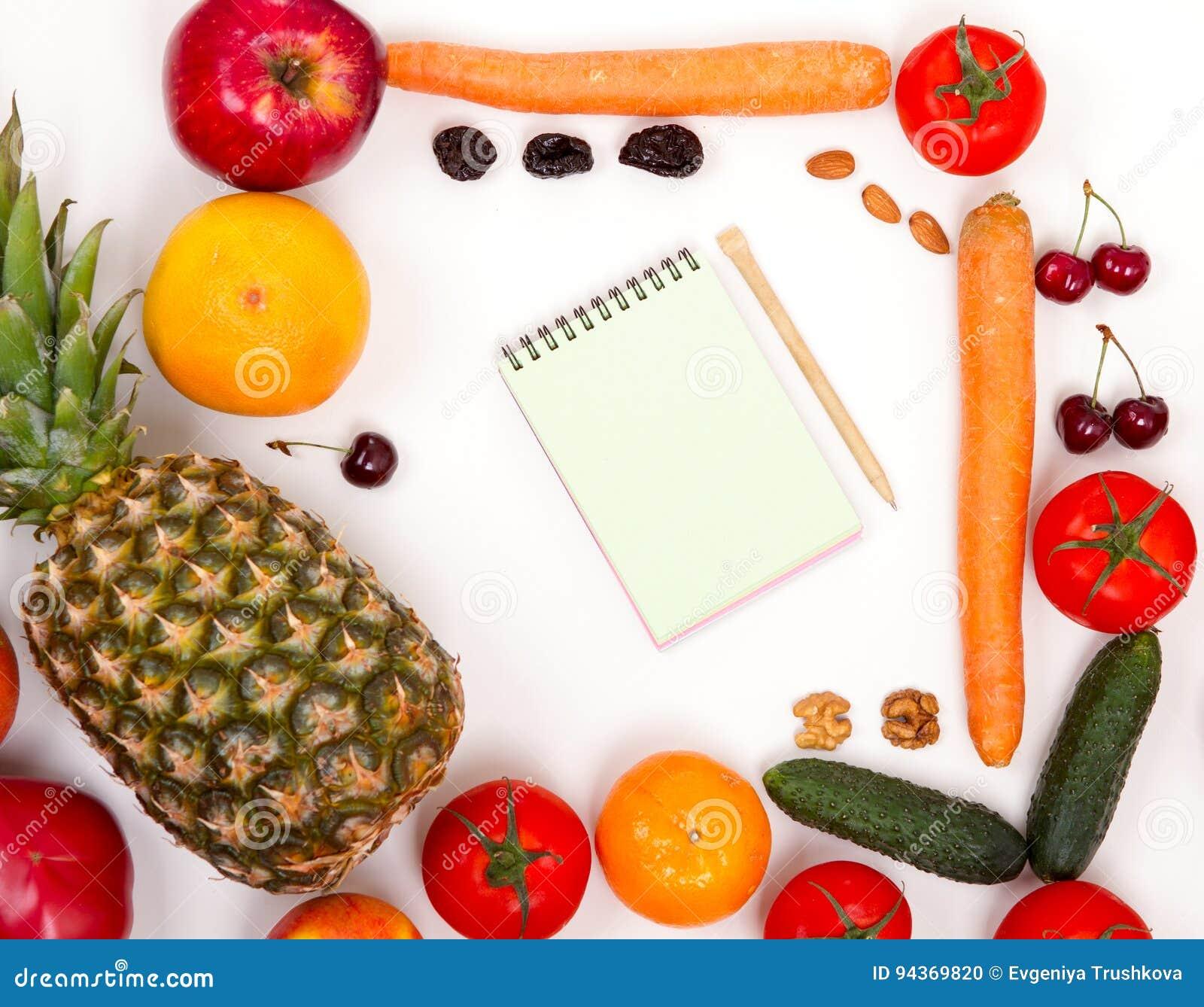 Notizbuch mit Obst und Gemüse