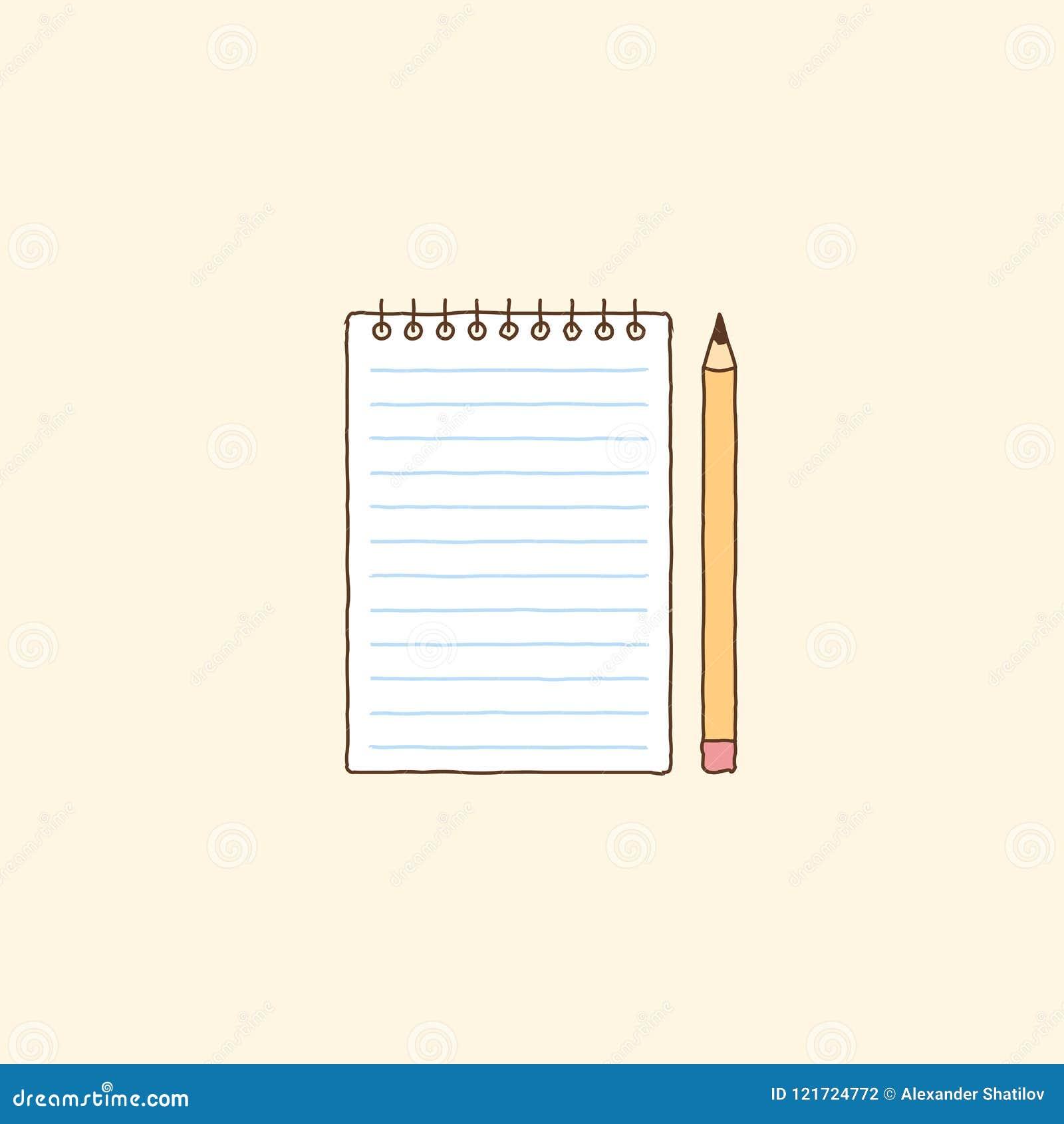 Notizbuch und gelber Bleistift Hand gezeichnete Vektorkunstillustration