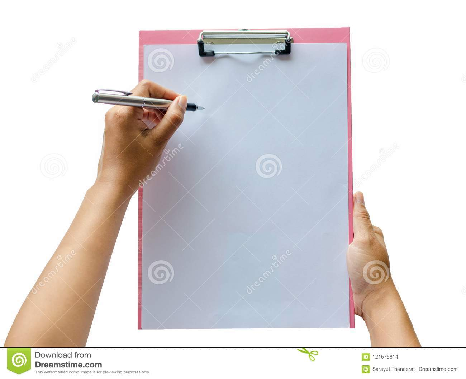Notizbuch und Stift in der Hand Auf weißem Hintergrund