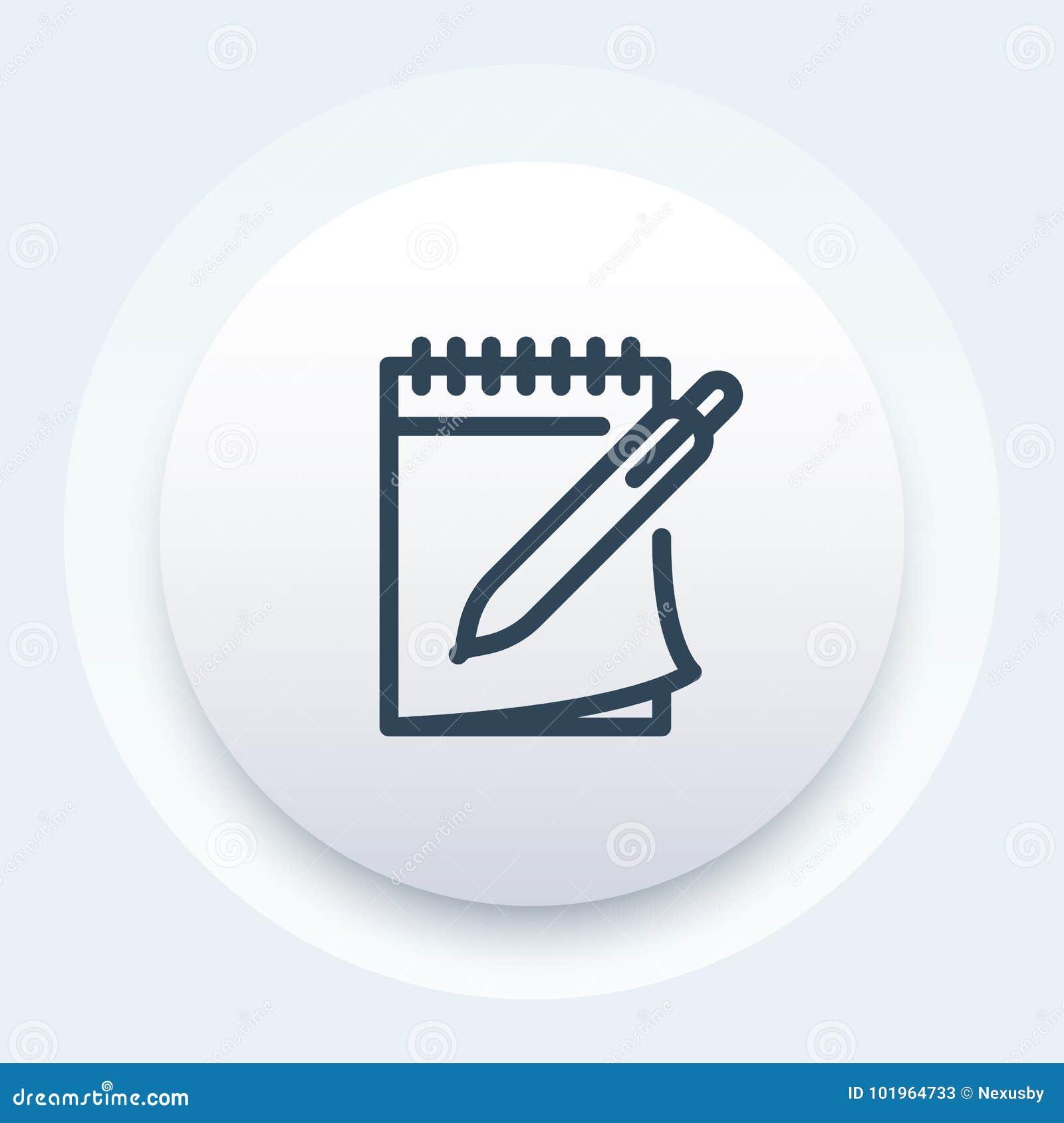 Notizbuch und Stift vector Ikone in der Linie Art