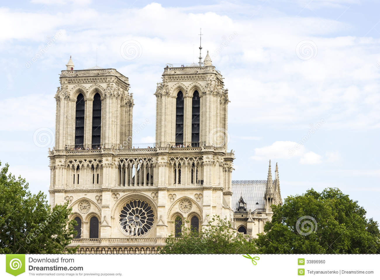 Notre Dame De Paris Cathedral On Beautiful Background