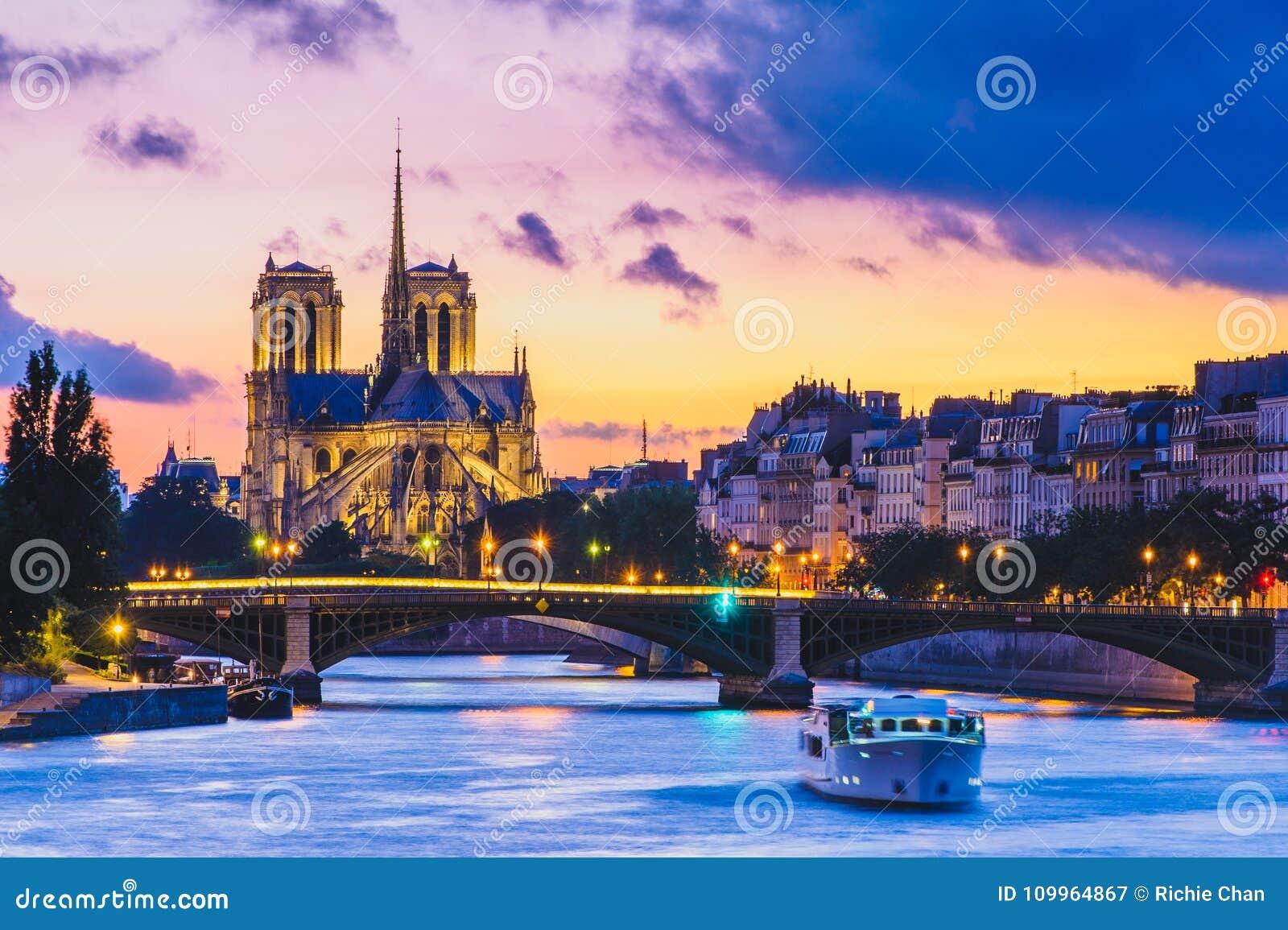 Notre Dame de Paris Cathedral e la Senna