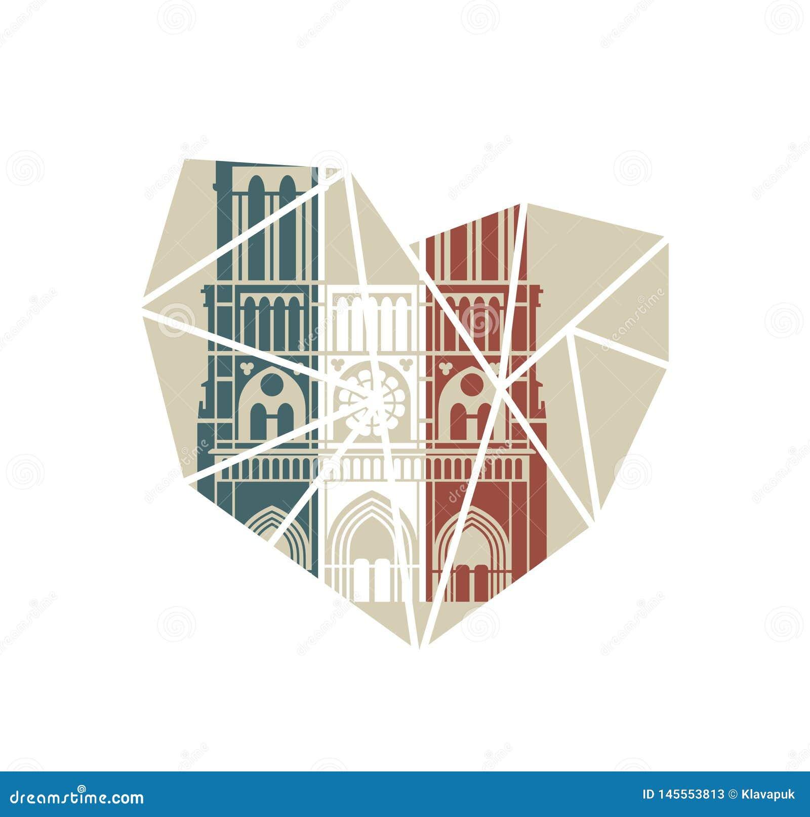 Notre Dame de Paris Cathedral in de kleuren van de Franse vlag Vector vlak pictogram in de vorm van een gebroken hart