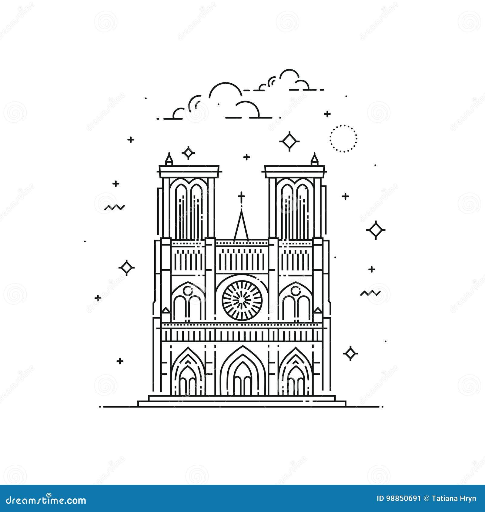 Notre Dame De Paris Disegno.Notre Dame De Paris Illustration Made In Outline Style World